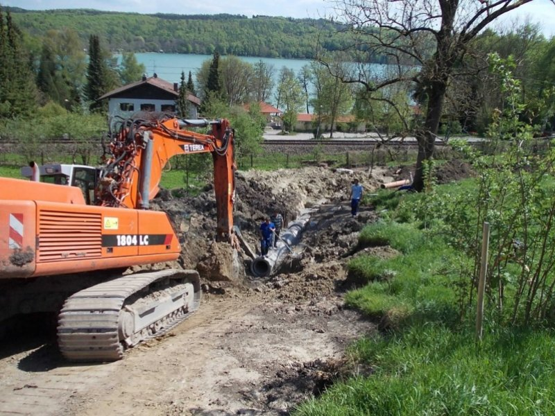 Kanalbau in Seefeld-Hechendorf bei bis zu 25% Hangneigung